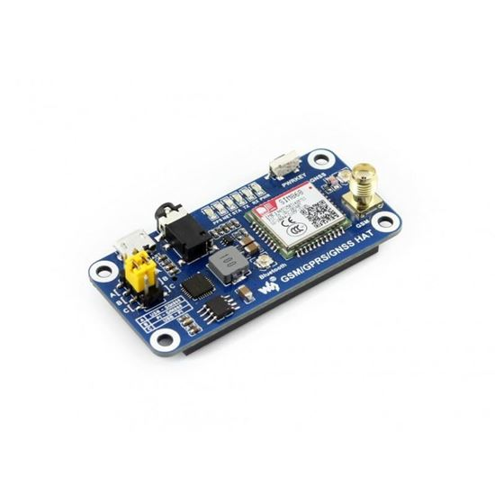 Picture of GSM/GPRS/GNSS/Bluetooth HAT for Raspberry Pi Based on SIM868 Supports SMS, phone call, GPRS, DTMF, HTTP, FTP, MMS, email, etc.